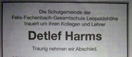 Detlef Harms verstorben